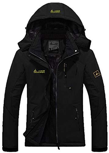 YXP Women's Mountain Waterproof Ski Jacket Windproof Rain Jacket(Black,L)