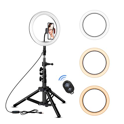 Rovtop 10 inch Ring Light with Stand Tripod, LED, Phone Holder for Selfie Camera Photography Makeup Video Live Streaming