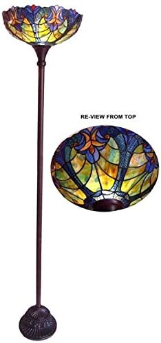 Amazon Com Stained Glass Tiffany Style Torchiere Floor Lamp