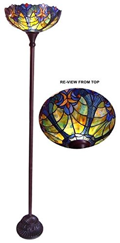 Amazon tiffany style stained glass torchiere floor lamp shade tiffany style stained glass torchiere floor lamp shade aloadofball Image collections