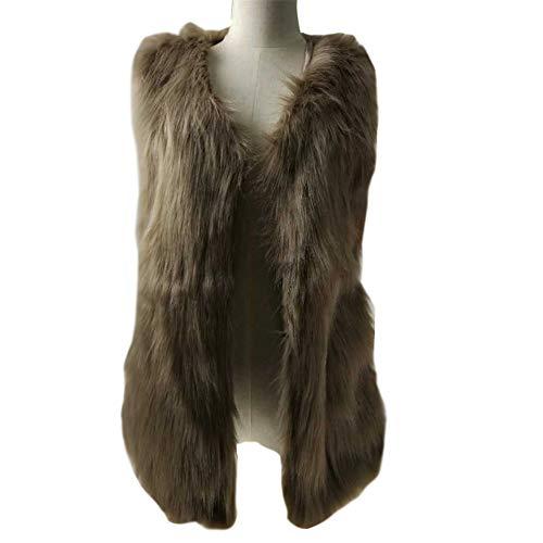 Kaki Vest En Femme Manteau Manches Fourrure Fausse Sans Gilet Coat f5xUqxzF