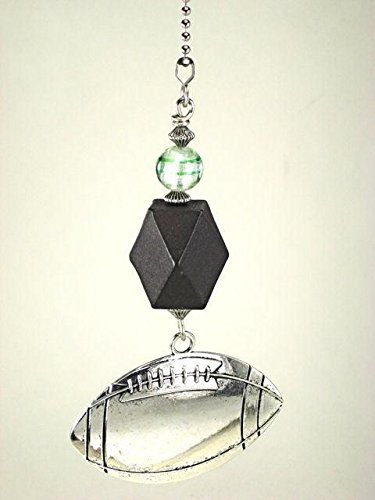 Large Silvery Football with Black Faceted Wood and Glass Sports Ceiling Fan Pull Chain