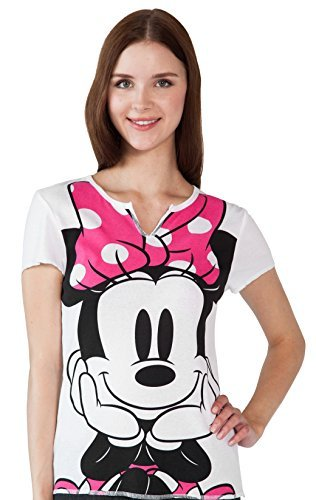 Disney Junior's Mickey Minnie Mouse Shirt Lounge Sleep Top (White, XL) (One Star Mid Top)