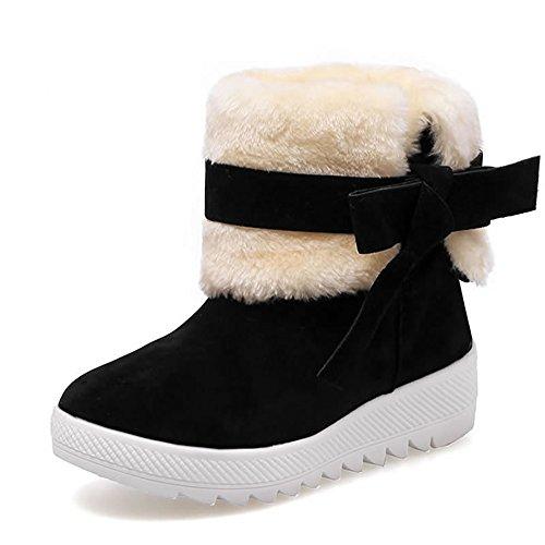 DUSISHIDAN Damen Stiefeletten Warm Gefütterte Worker Boots Outdoor Schuhe Schwarz
