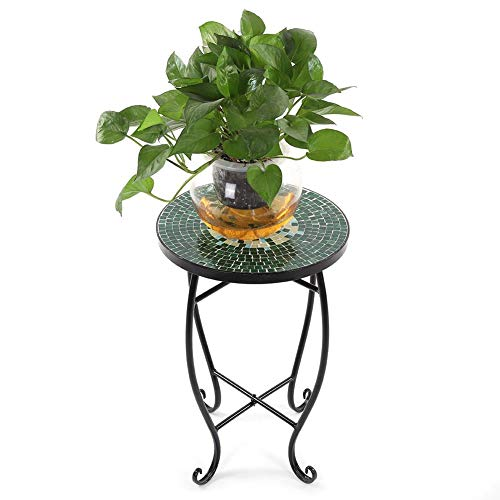 - Round Patio Bar Table, Mosaic Painted Glass Iron Art Plant Stand Round Side Accent Table Indoor Outdoor Decor Green