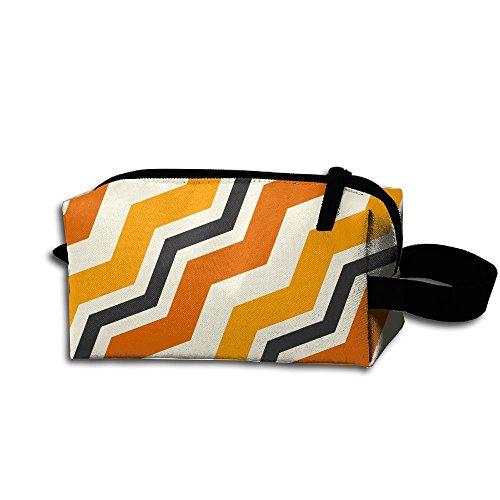 (Halloween Stripes Seamless Splicing Shading Cosmetic Bag Zipper Storage Bag Portable Ladies Travel)