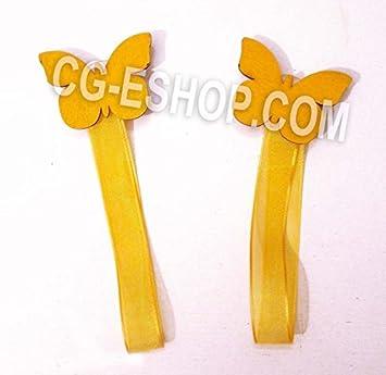 Paire 2 aimants pour rideaux Papillon Papillons Jaune jaunes aimant ...