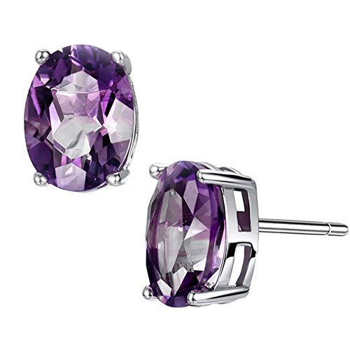3.2ct Amethyst Earrings Stud Sterling Silver Earring February Birthstone Natural Gemstone Fine Jewelry for Women