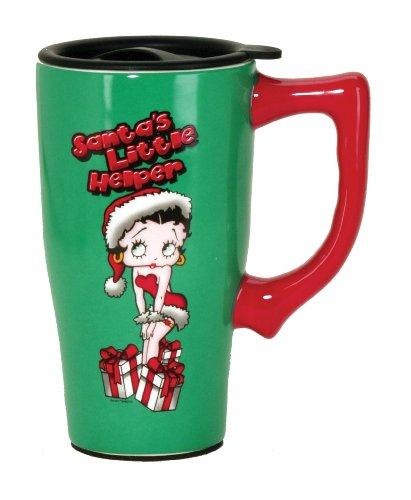 Betty Boop 12188 Christmas, Green Santa Travel Mug, 5.2