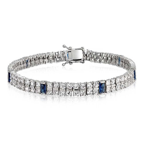 Bling Jewelry White and Blue CZ 2 Row Tennis Bracelet for Women Simulated Sapphire Baguette Cubic Zirconia Rhodium Plated Brass 7.5 in