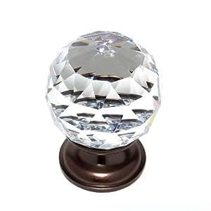 JVJHardware 36212 Pure Elegance 40mm - 1.56 pulg - Facetas de la bola 31 por ciento con plomo Perilla de cristal - viejo mundo Bronce