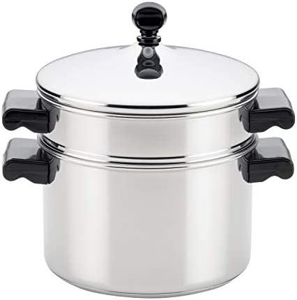 413WOTBl%2B1L. AC Farberware Classic Series Sauce Pot/Saucepot with Steamer Insert, 3 Quart, Silver    Sauce it, boil it, steam it, and simmer it with the versatile Farberware Classic Stack 'N' Steam Stainless Steel Saucepot and Steamer. From lobster pot to soup pot, this multipurpose cookware combo can be used with or without the steamer insert, and boasts a full cap base featuring a thick aluminum core surrounded by stainless steel for rapid, even heating on any stovetop, including induction. Heavy-duty stainless steel is polished to a mirror finish for a classic touch and the stacking steamer pot is dishwasher safe and oven safe to 350°F.
