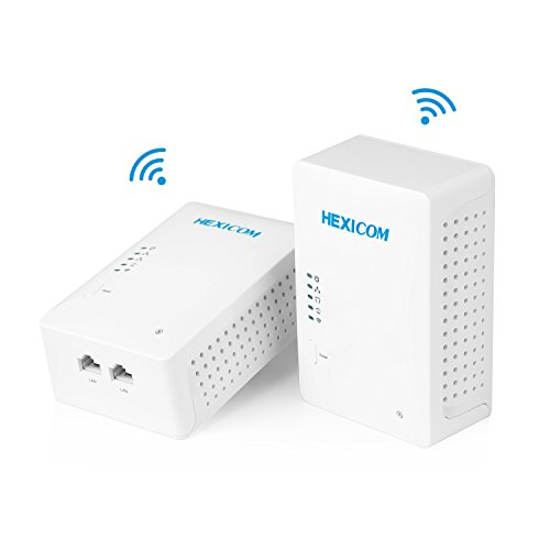 HEXICOM Av 500 Mbps Powerline Adapter with WiFi (Both with WiFi Support) Kit with IPTV Homeplug Bridge PLC 2 LAN Ports(HM500WE/HS500WE) ()