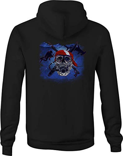 - Zip Up Hoodie Skull Scuba Diving Hooded Sweatshirt for Men - Small Black