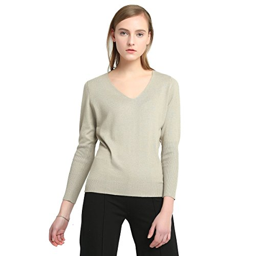 FCYOSO Women's Big V-Neck Pullover Loose Sexy Batwing Sleeve Wool Cashmere Sweater Tops