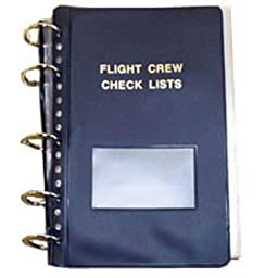 Flight Crew Checklist Binder - 5 Fasteners, 25 Sheet Protectors, Blue