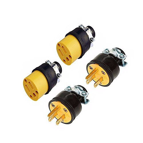 2 Male & 2 Female 3 Wire Replacement Electrical Plug Ends, 3 prong, Extension Cord - 2' Galvanized Plug