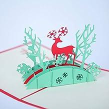 3D Christmas Greeting Card Color Print Three-Dimensional Handmade Christmas Reindeer Greeting Card, 5 Pack