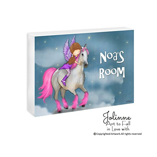 Custom Name Personalized Girl's Door Sign Bedroom Plaque Children's Decor Gift Unicorn Horse Customized Hair and Skin Color