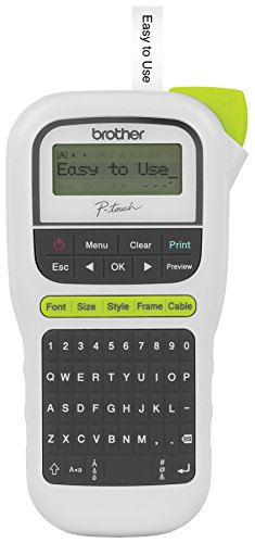 - Brother P-touch, PTH110, Easy Portable Label Maker, Lightweight, QWERTY Keyboard, One-Touch Keys, White
