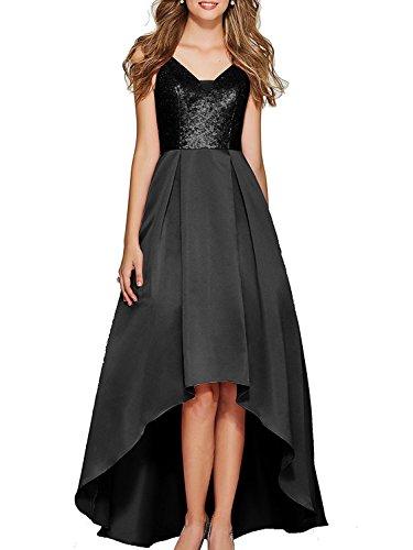 Haute Robes De Bal En Satin Cou Faible V Femmes Besswedding Sans Manches Robes De Soirée Noire Bp131