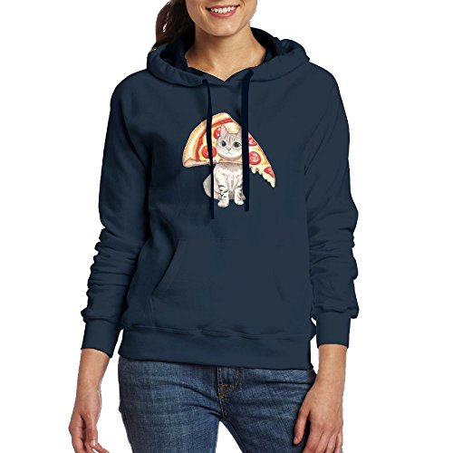 Womens Lovely Pizza Cat Novelty Hoodies Jogging Sweatshirt With Kangaroo Pocket from PWLLS