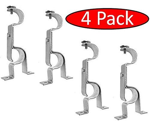 TEJATAN Double Curtain Rod Brackets - Silver (Set of 4 Brackets)