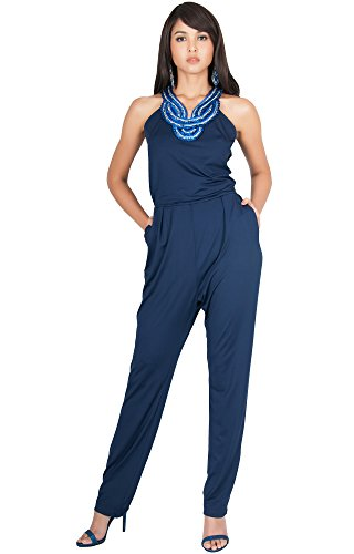 KOH KOH Plus Size Womens Sleeveless Long Sexy Cocktail Club Wear Party Halter Neck Pockets Pants Pant Suit Suits Pantsuit Playsuit Jumpsuit Jumpsuits Romper Rompers, Navy Blue XL (Sexy Outfits For Big Girls)