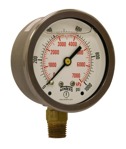 """Winters PFQ Series Stainless Steel 304 Dual Scale Liquid Filled Pressure Gauge with Brass Internals, 0-1000 psi/kpa,2-1/2"""" Dial Display, +/-1.5% Accuracy, 1/4"""" NPT Bottom Mount from Winters Instruments"""