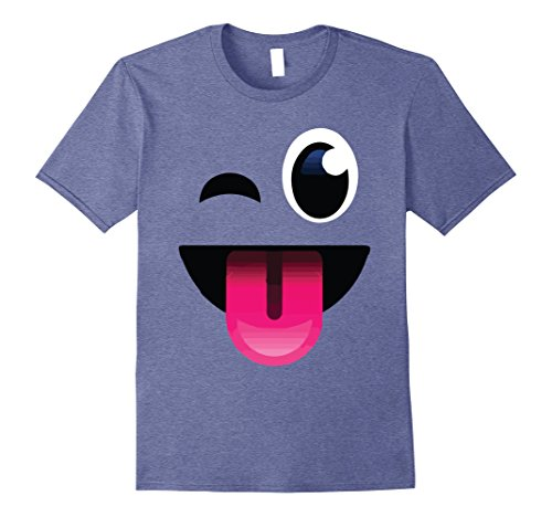 Mens Wink Tongue Out Crazy Emoji Tee Shirt Group Couple Costume Large Heather (Blue Man Group Out Of Costume)