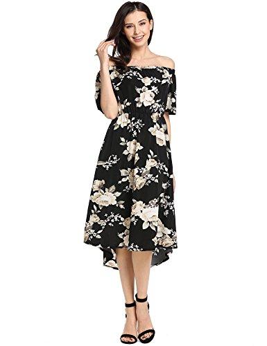 Teamyy Vestido estampado de fiesta vestido plisado sin tirantes de mujer Negro