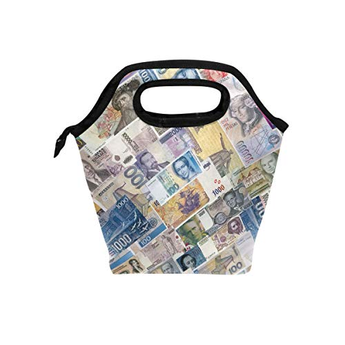 Vipsk Lunch Bag Dollar Bills Lunch Box, Waterproof Outdoor Travel Picnic Carry Case Lunch Handbags Tote with Zipper, Black