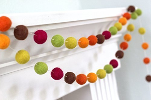 Autumn Thanksgiving Fall Halloween Felt Ball Garland- Brown Orange Green