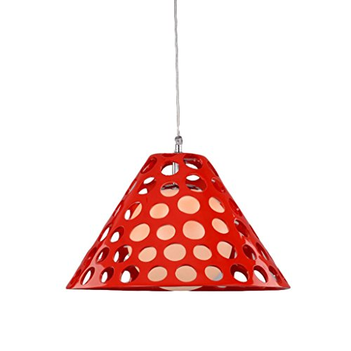 Modern Single-head Chandelier Red, E27 Specifications Simple Bedroom Lamp, Resin Lamp, Lamp Cover Honeycomb Shape 36 26CM (Color : Red) -