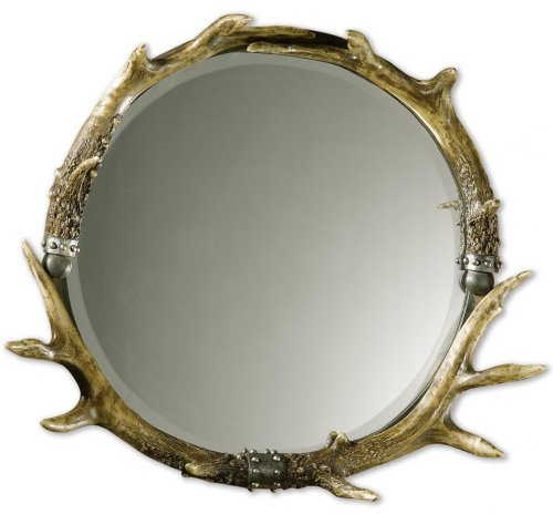 Natural Brown And Ivory Silver Leaf Accent Stag Horn Rustic Frame Mirror Model-11556 B (Mirror Horn Stag)