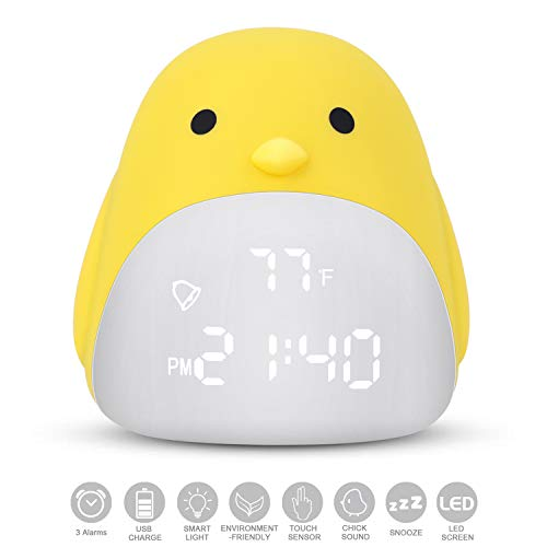DAYOO Kids Alarm Clock, Children's Sleep Trainer, Cute Chick Alarm Clock for Girls Boys, Kids Night Light Clock with 3 Color Changing, Kids Bedroom Clock with USB Charger, Touch Control and 3 Alarms