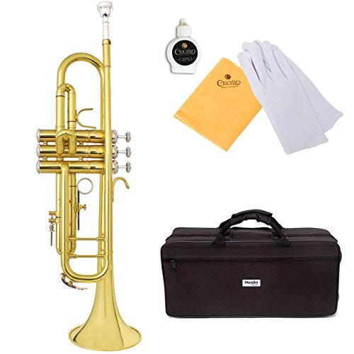 Mendini by Cecilio MTT-30L Bb Gold Lacquered Trumpet with Monel Valves by Mendini by Cecilio