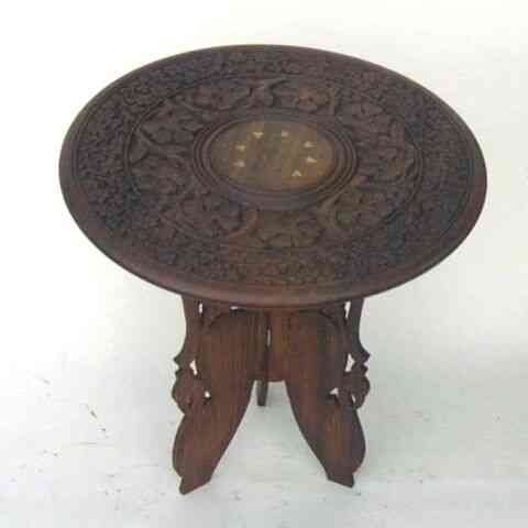 Highly Portable Handcarved Hardwood Table - 18''