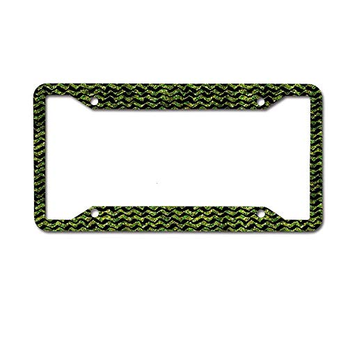 W tactics License Plate Frame Metal Plate Black Background Green Glitter Chevron]()