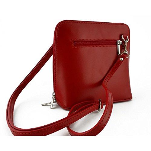 Bolso De Bandolera En Piel Para Mujer Color Rojo - Peleteria Echa En Italia - Bolso Mujer
