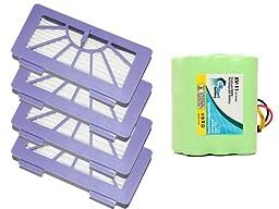 Neato XV Signature Pro Battery and Filters - Kit Includes Neato Battery and 4 Filters (3500mAh, 7.2V, NI-MH)