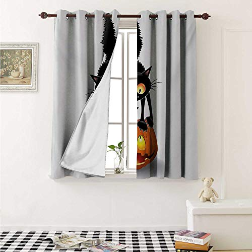 shenglv Halloween Waterproof Window Curtain Black Cat on Pumpkin Drawing Spooky Cartoon Characters Halloween Humor Art Curtains for Party Decoration W84 x L72 Inch Orange Black]()