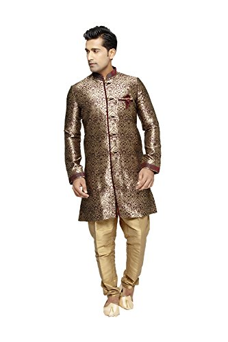 Jaipur Collections Indian Kurta Pajama Set For Men Wedding Festival Partywear In Purple Brocade Art Silk by Jaipur Collections