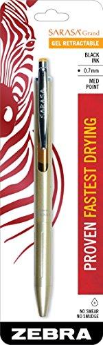 Zebra Sarasa Grand, Retractable Gel Ink Pen, Gold Barrel, Medium Point, 0.7mm, Black Ink, 1-Count