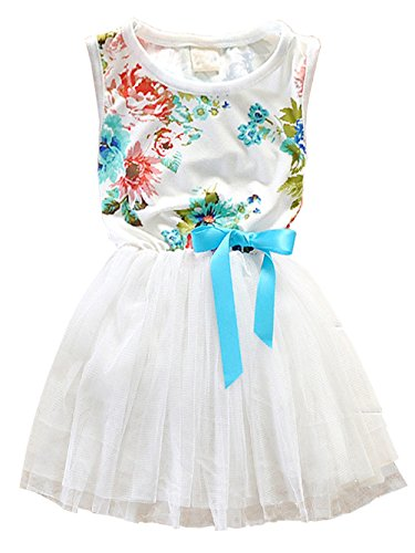RJXDLT Little Girls Sleeveless Floral Princess Dress Lace Tulle Tutu Dresses Sundress 2 Years White Bright Floral Sundress