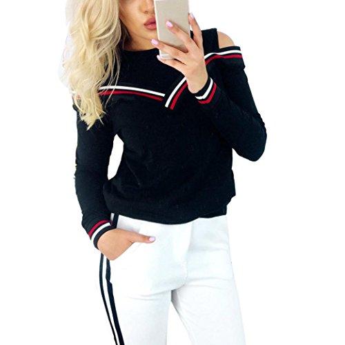 IEason Women Top, Womens Ladies Cold Shoulder T-Shirt Long Sleeve Blouse Tee Top (Navy, M) (2 Wool Womens Shirt Crew)