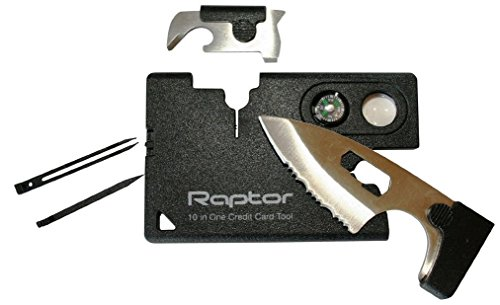 Raptor 10-In-One Credit Card Pocket MultiTool Kit Wallet. Unique Size Survival Tool EDC. (10 Best Edc Knives)