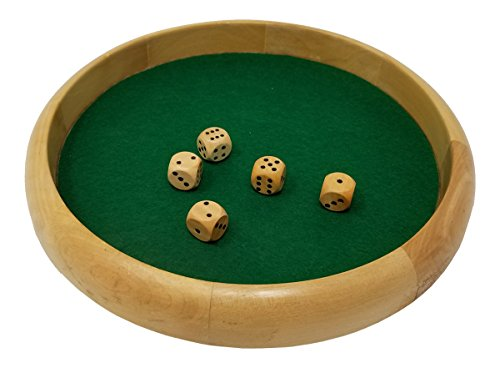 DA VINCI Economy Line of Wood Dice Rolling Tray with 5 Wooden Dice (10 Inch Round)
