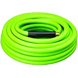 "Amflo 577-50A Green 300 PSI Rubber/PVC Air Hose 3/8"" x 50' With 1/4"" MNPT End Fittings And Bend Restrictors"