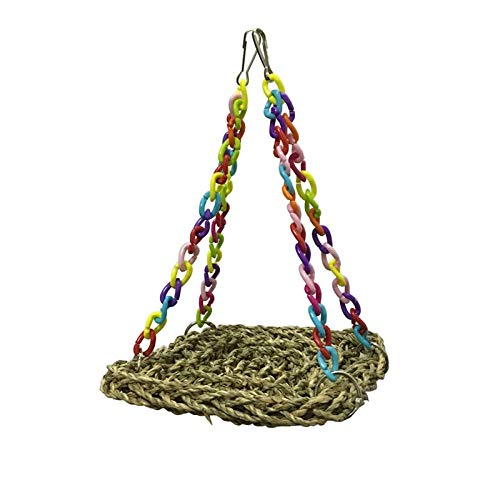 KathShop Pet Toys Parrot Swing Hammock Toy Straw Perch Platform Hanging Parrot Bird Chew Toy Bird Toy Supplies ()